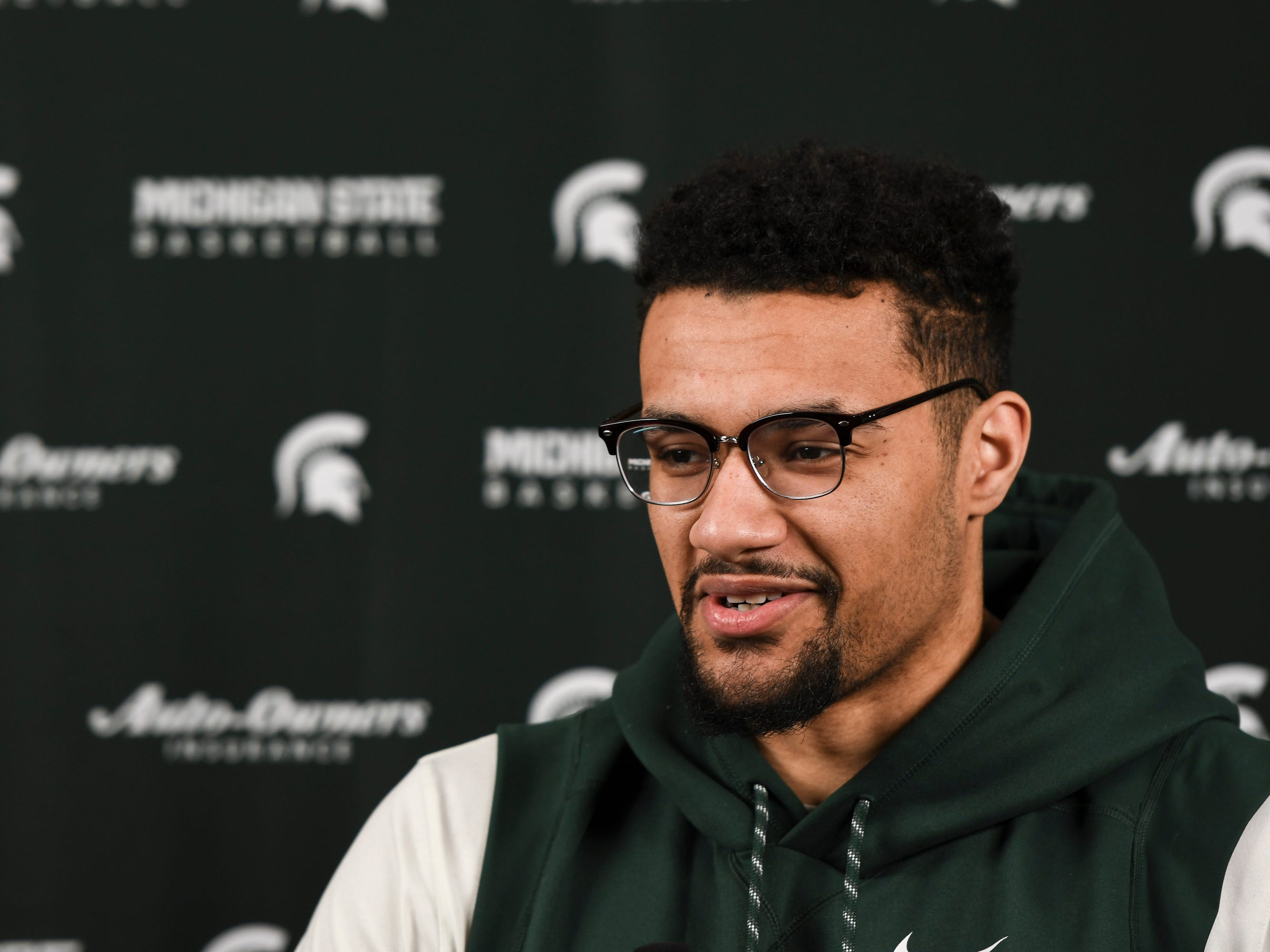 """You're not gonna get a chance to (win a national championship) unless you get past Saturday and Texas Tech,"" Kenny Goins said  Tuesday, April 2, 2019, during a press conference at the Breslin Center.  ""All of our focus is on Texas Tech."""