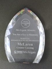 The NAMI award McLaren Greater Lansing recently won at the annual NAMI Michigan Honors Award Gala.