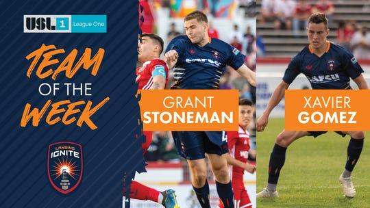 Lansing Ignite defender Grant Stoneman and attacking midfielder Xavier Gomez were named to the USL League One Team of the Week after the team's 3-2 victory over Richmond on Saturday.