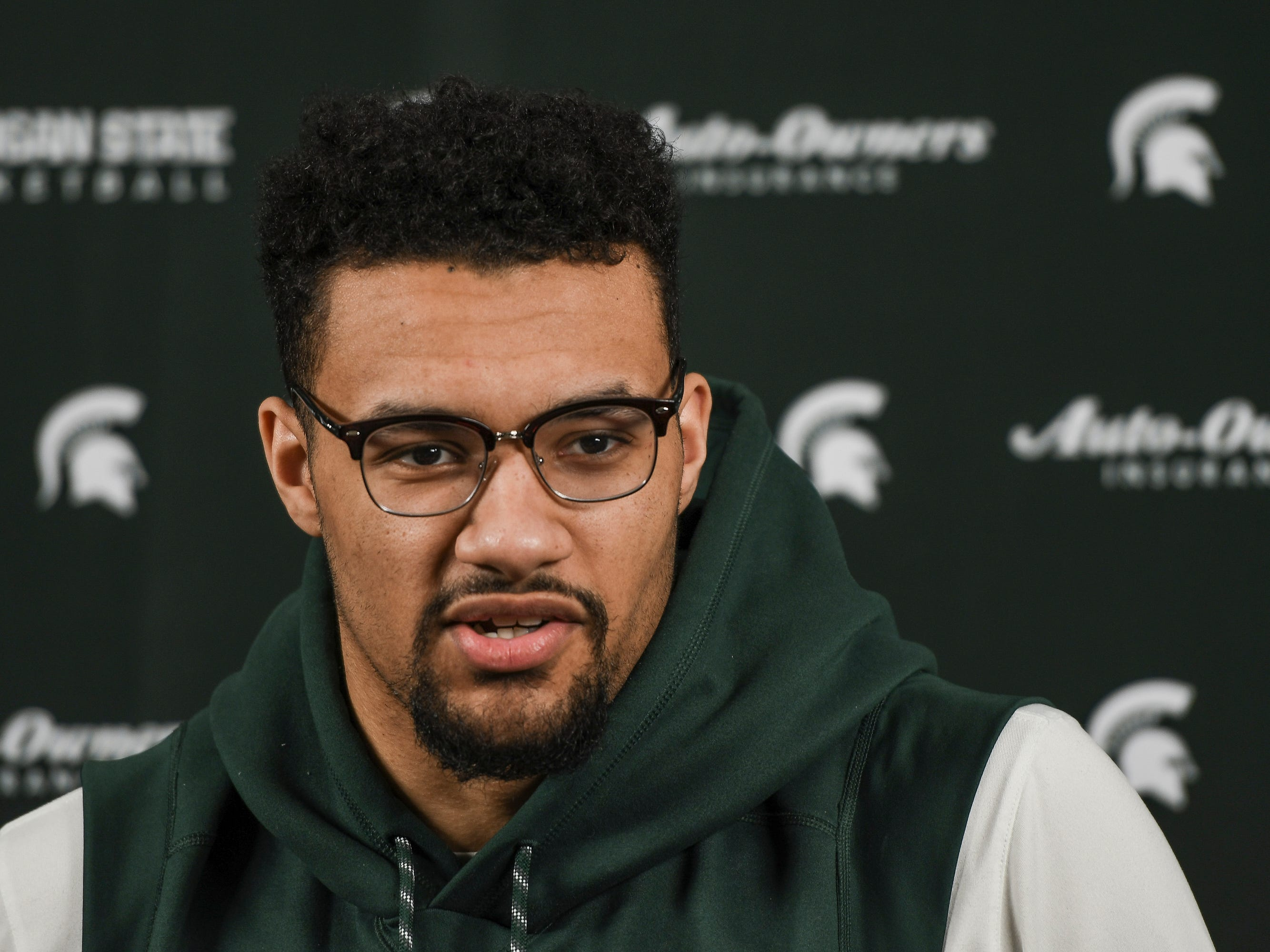 Kenny Goins talks about the importance of his family Tuesday, April 2, 2019, during a press conference at the Breslin Center.