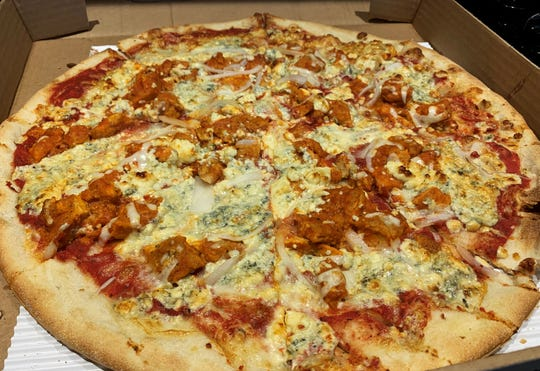 The chicken buffalo pizza from Frankie's Authentic Italian Deli in South Naples.