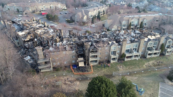 An aerial view from a drone shows the destruction after a fire at the White Oaks apartment complex, 9009 N. White Oak Lane on Tuesday, April 2, 2019, in Bayside. At least 14 people were rescued from the massive blaze, which was reported around 12:15 a.m. early Saturday, March 30.