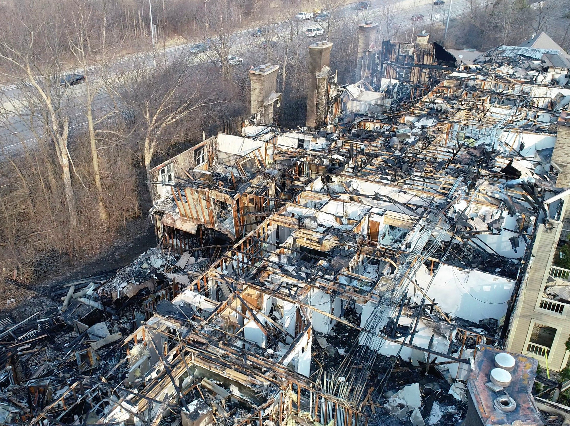 An aerial view from a drone shows the destruction from a fire at the White Oaks apartment complex, 9009 N. White Oak Lane, on Tuesday, April 2, 2019, in Bayside. The fire broke out around 12:15 a.m. Saturday, March 30.