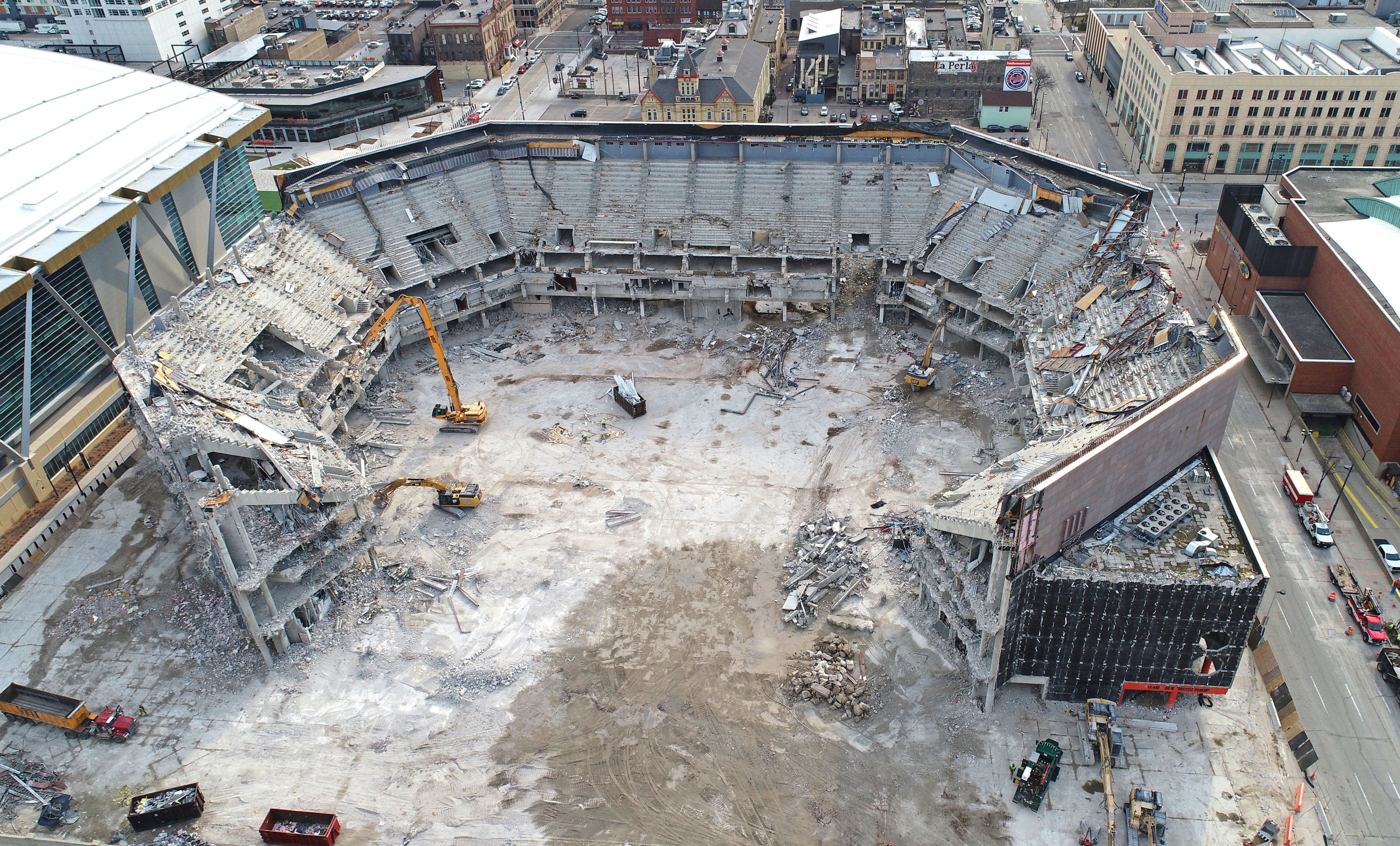 Drone video shows the demolition work that continues at the BMO Harris  Bradley Center