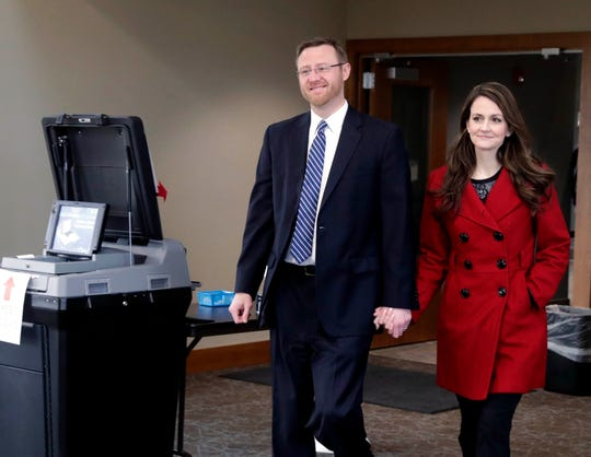Judge Brian Hagedorn and Christina Hagedorn cast their votes in the 2019 Spring election in the village of Summit. The Wisconsin Supreme Court race is a  judicial showdown between two state Appeals Court judges, Lisa Neubauer and Brian Hagedorn.