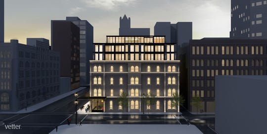 The downsized proposal for Kinn Hotel calls for three floors to be built atop a four-story historic building at North Broadway and East Michigan Street.