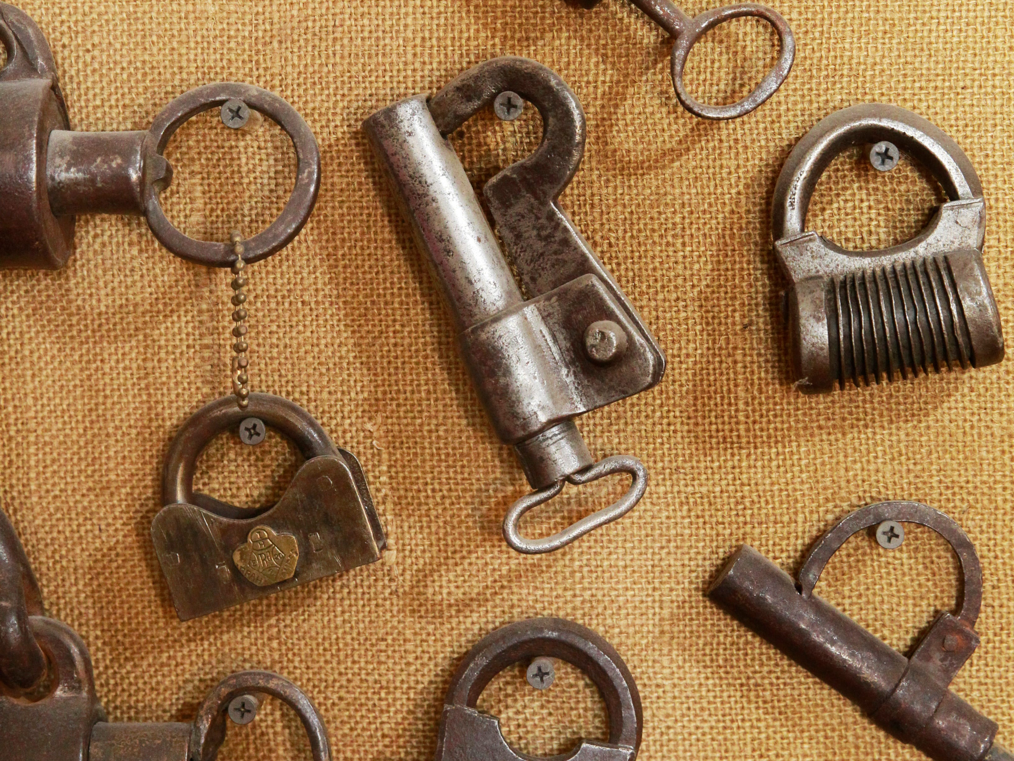 Only a few of Scott Stephan's extensive collection of locks is on display in his home.