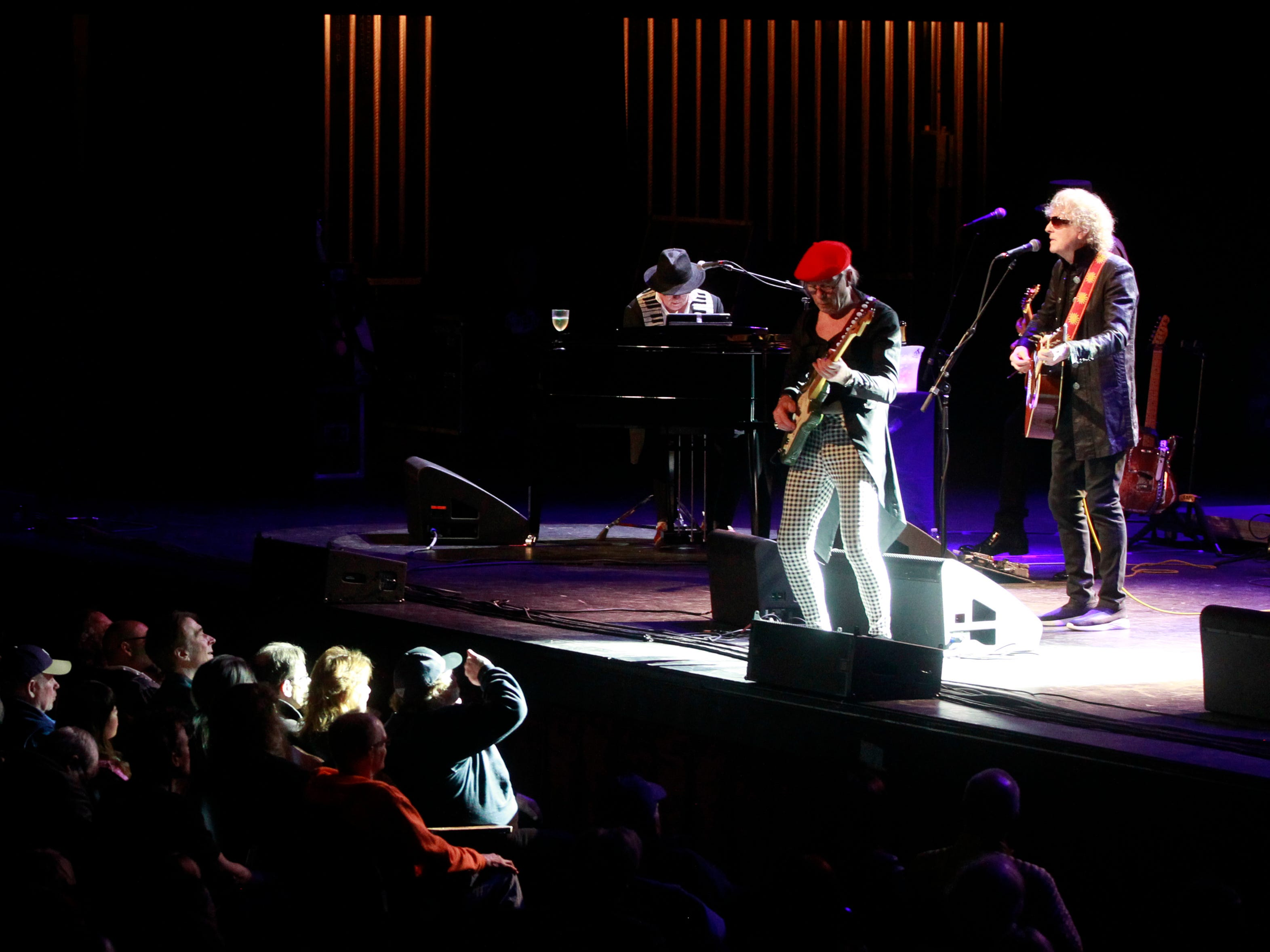 Ariel Bender, left and Ian Hunter,  right, from the Mott The Hoople, perform at the Miller High Life Theatre in Milwaukee.
