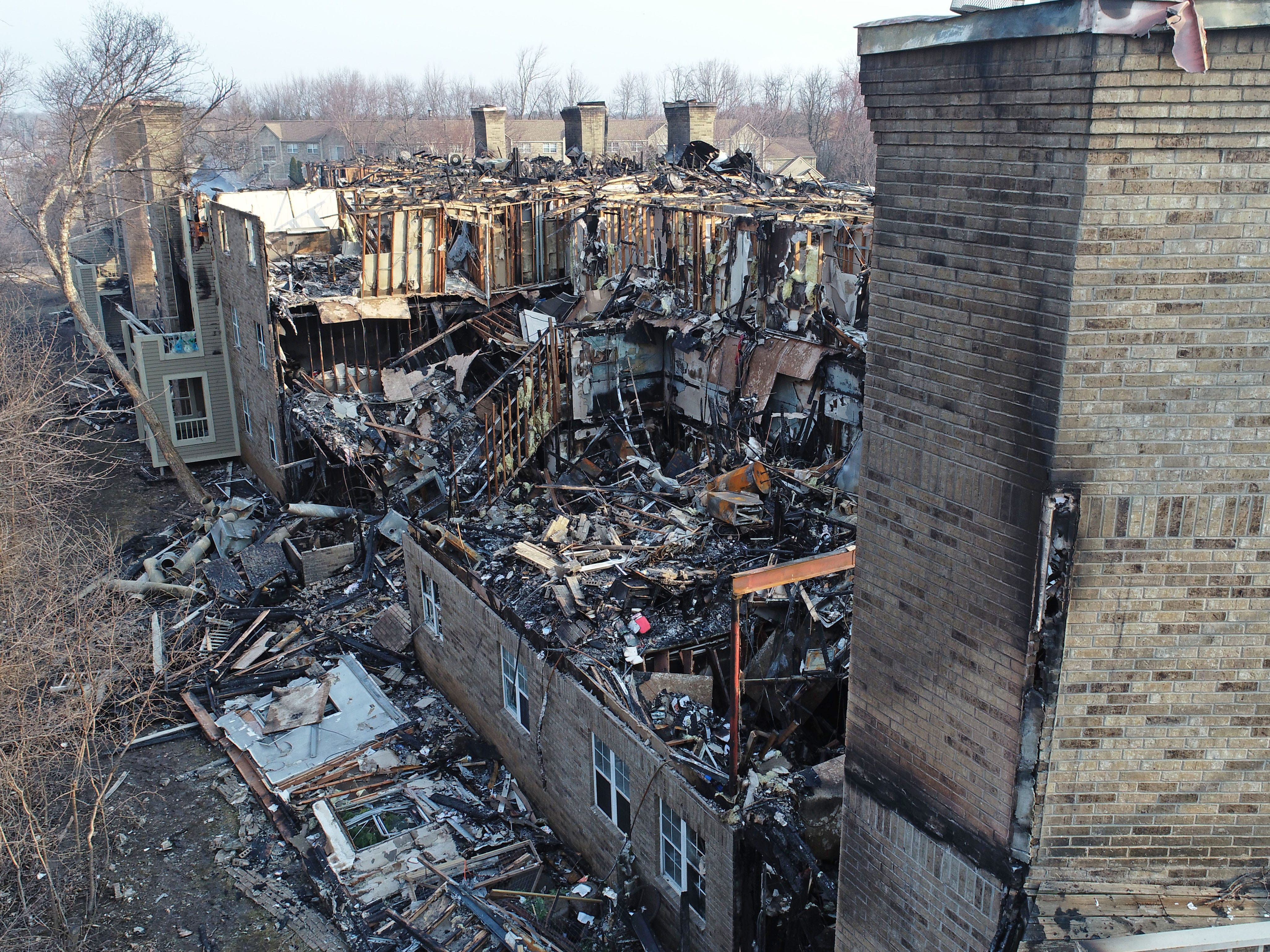 An aerial view from a drone shows the destruction.