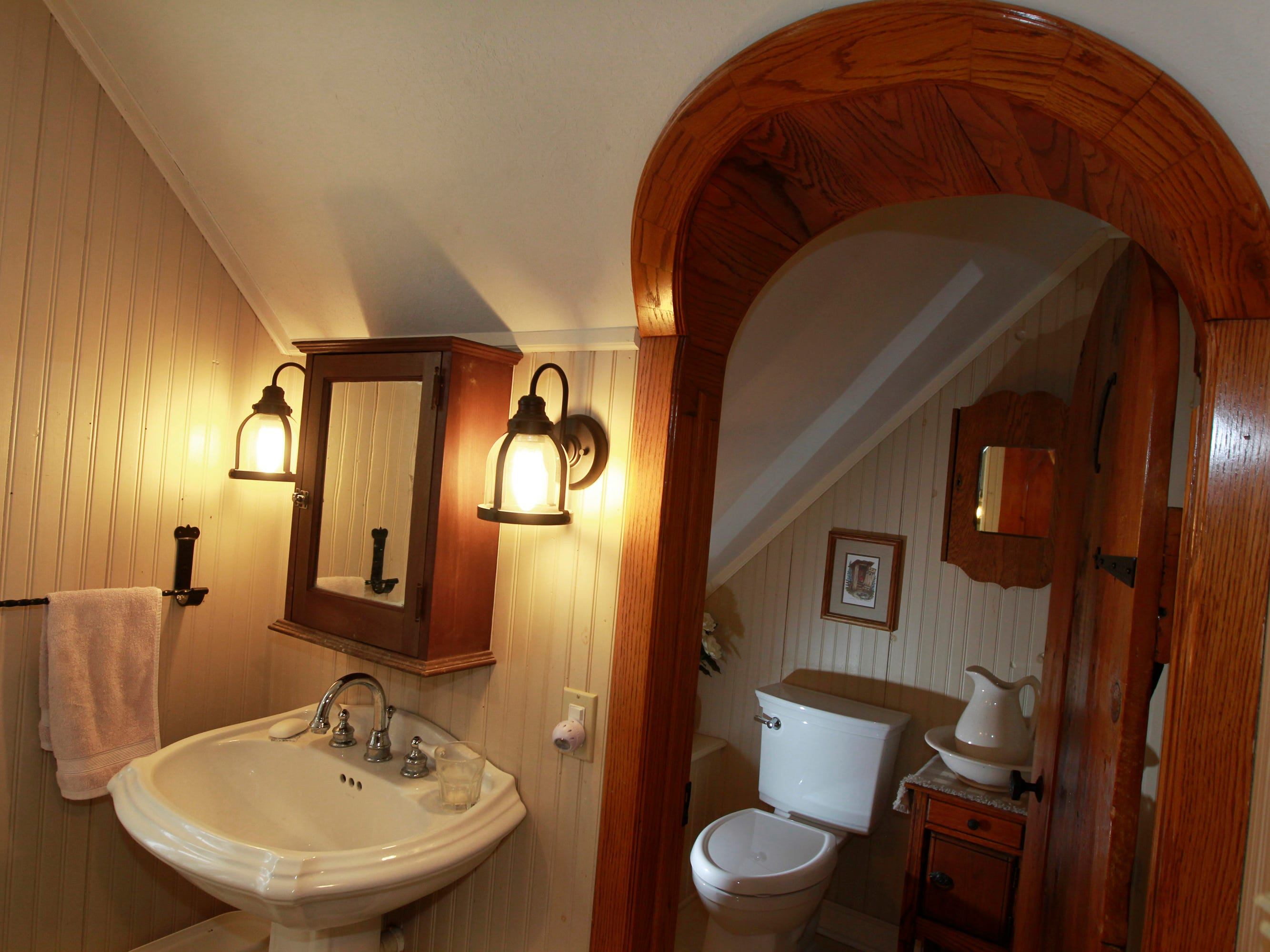 The upstairs bathroom in the home.
