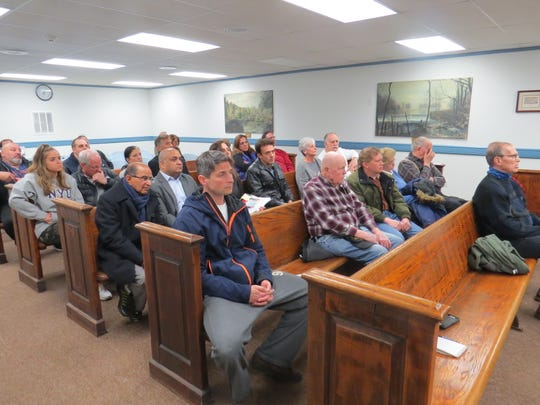 Residents of Boonton Township and neighboring Denville attend a Boonton Township planning board meeting to sound off against a proposed marijuana growing facility at the former Hamilton Farms. April 1, 2019.