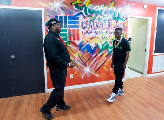 Charles Lee, left, giver Rapper Boosie a tour of That's My Child in Montgomery, Ala., on Tuesday April 2, 2019.