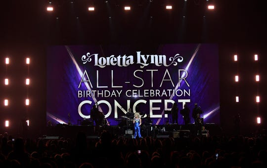 Cam hosts the Loretta Lynn: An All-Star Birthday Celebration Concert at Bridgestone Arena Monday, April 1, 2019 in Nashville, Tenn.