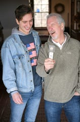 Popular conservative radio personality Phil Valentine goofs around with his son and podcast partner, Campbell, at their cabin in Brentwood on Thursday, March 7, 2019.