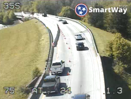 One lane of I-75 south in Chattanooga remained closed Tuesday morning.