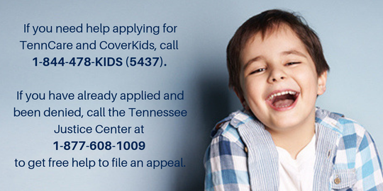 A flyer provided by the Tennessee Justice Center offers help to families who have lost health care when purged from TennCare or CoverKids.