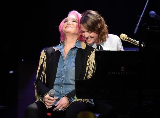 Tanya Tucker and Brandi Carlile perform during the Loretta Lynn: An All-Star Birthday Celebration Concert at Bridgestone Arena Monday, April 1, 2019 in Nashville, Tenn.