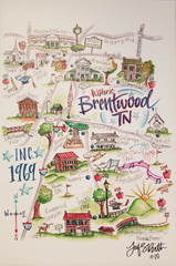Prints of this illustrated watercolor map of Brentwood's historic locations is for sale in tandem with the city's 50th anniversary celebrations.