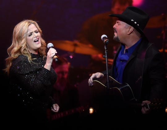 Trisha Yearwood and Garth Brooks perform during the Loretta Lynn: An All-Star Birthday Celebration Concert at Bridgestone Arena on April 1, 2019.