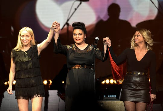 Ashley Monroe, Angaleena Presley and Miranda Lambert of the Pistol Annies perform during the Loretta Lynn: An All-Star Birthday Celebration Concert at Bridgestone Arena Monday, April 1, 2019 in Nashville, Tenn.