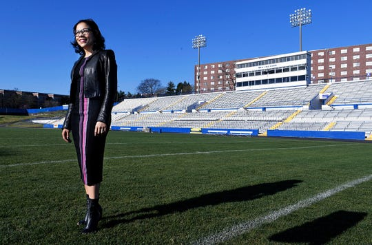 NFL Senior Vice President of Corporate Communications and TSU graduateTraci Otey Blunt stands in TSU's Hale Stadium on Tuesday, April 2, 2019 where she played in the marching band.