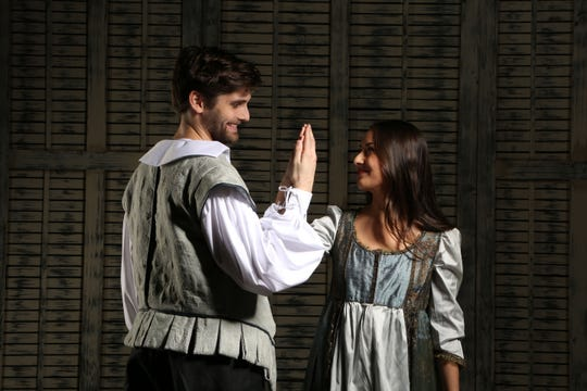 "Joe Leitess and Cailen Fu star as Will Shakespeare and Viola De Lesseps in Nashville Rep's ""Shakespeare in Love."""