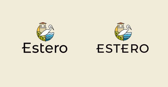 Two related options for Estero branding logos. The village hired North Carolina company vitalink to develop branding for Estero.