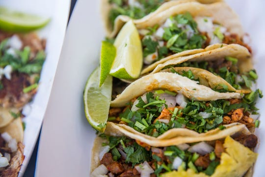 Authentic Mexican tacos served by El Local food truck in July 2018.