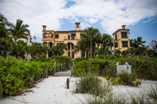 A recently sold property on Vanderbilt Beach on April 2, 2019. This four-story, beachfront mansion, located at 7607 Bay Colony Drive, sold for $14.9 million in February. It was the third highest price sale ever in Pelican Bay area and the first sale in The Strand, a private neighborhood in the Bay Colony community, in more than three years.