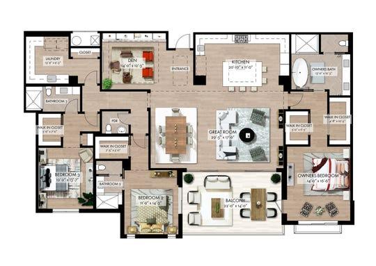 """Quattro's 2,733 square feet under air """"G-1"""" floor plan at Naples Square."""