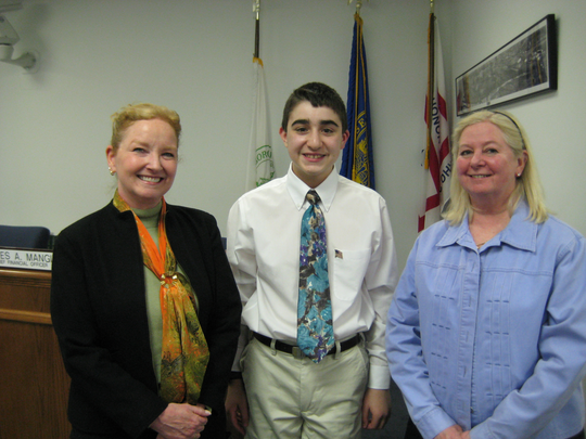 Ryan Schwertfeger, pictured during the initial request in eighth grade, with councilwomen Karen Marcalus and Betsy Stagg.