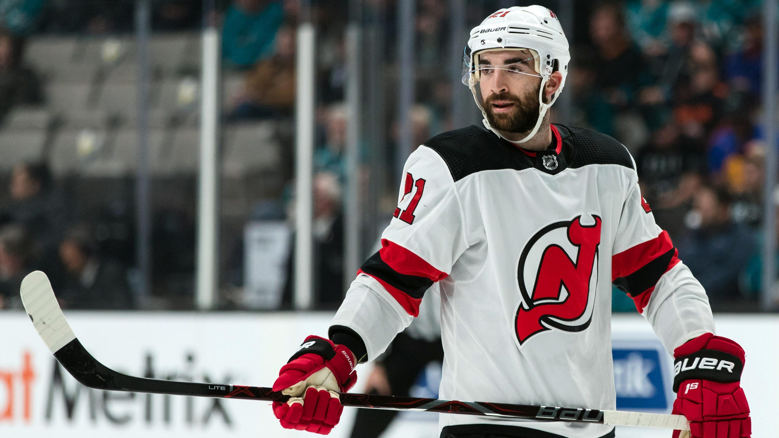 detailed look 55b68 d0b19 NJ Devils: Kyle Palmieri injured, Nathan Bastian states his case