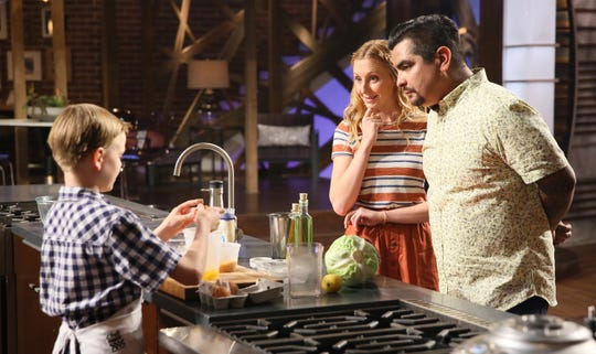"""Ben with judges Christina Tosi and Aarón Sanchez in the """"Junior Edition: Something to Trifle With"""" episode of MasterChef Junior."""
