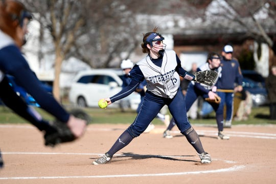 Rutherford pitcher Jordan Finelli pitches to Saddle Brook on Monday, April 1, 2019, in Rutherford. Rutherford defeated Saddle Brook in an 11-10 walk-off win for the first game of the season.