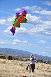 A fish kite makes an appearance at the annual kitefest near Glenwood.