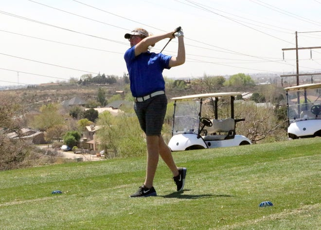 Carlsbad's Koleen Fiala tees off on the 10th hold during Tuesday's Eddy County Challenge in Carsbad. He finished the day shooting a 96 with a two-day total of 185.