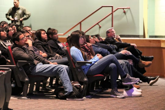 Shiprock High School students listen to David Parnell speaks about his experience with drug use   Tuesday morning in the Phil L. Thomas Performing Arts Center.