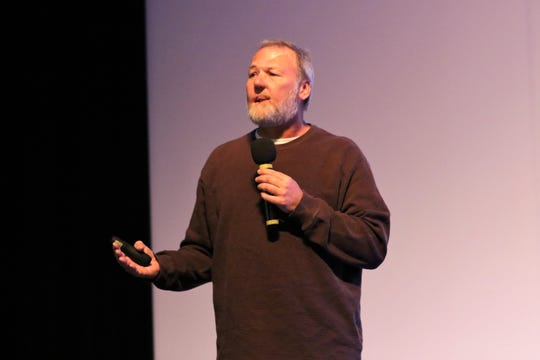 David Parnell speaks about his experience with drug use to Shiprock High School students Tuesday morning in the Phil L. Thomas Performing Arts Center