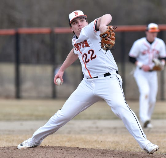 Brighton's Austin Prahl pitched into the seventh inning against Canton on Tuesday, April 2, 2019.