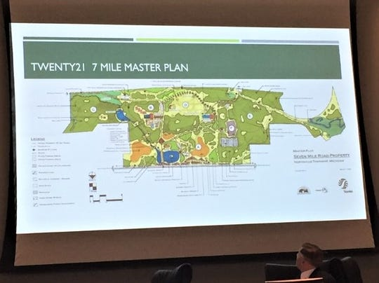 A map of the proposed Twenty21 7 Mile Master Plan, with the bottom of the map bordered by 7 Mile Road.