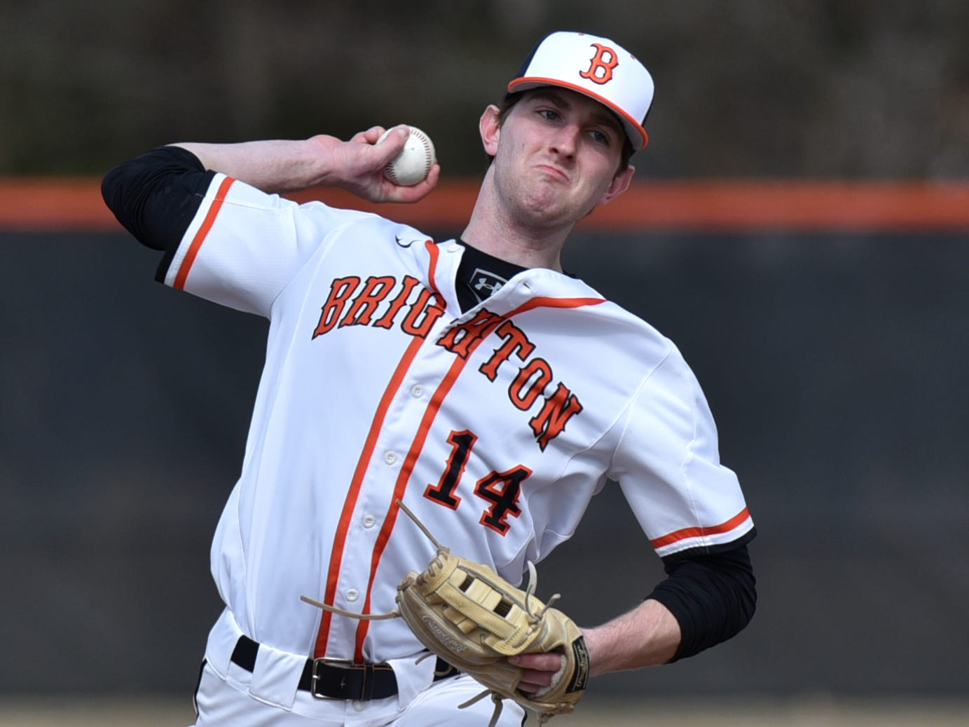 Brighton's Camden Benedict pitches against Canton on Tuesday, April 2, 2019.