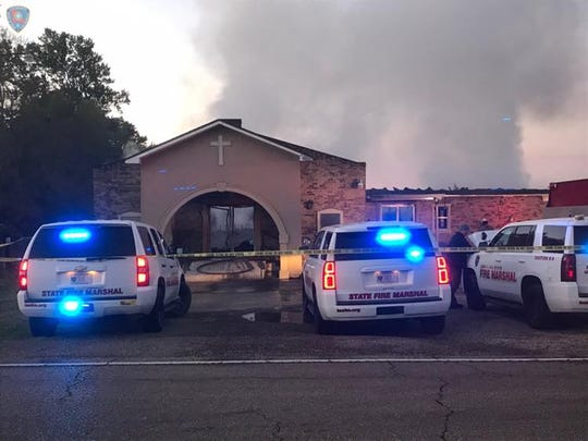 Deputies with the Louisiana Office of State Fire Marshal investigatie a fire in an Opelousas church early Tuesday morning.