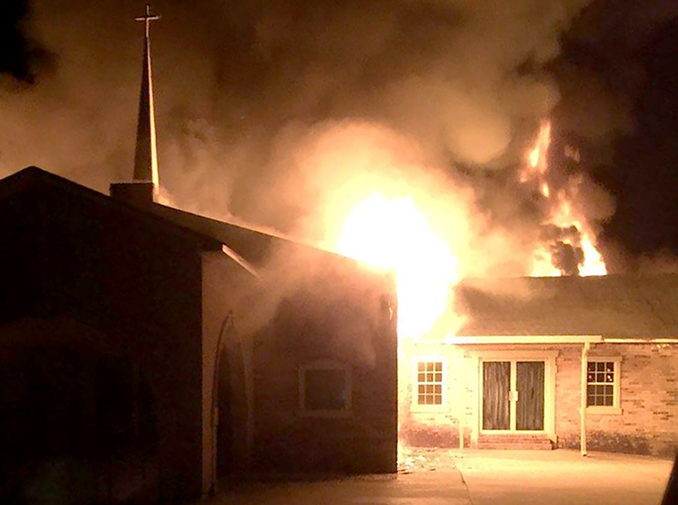Greater Union Baptist Church fully engulfed in flames early Tuesday morning.