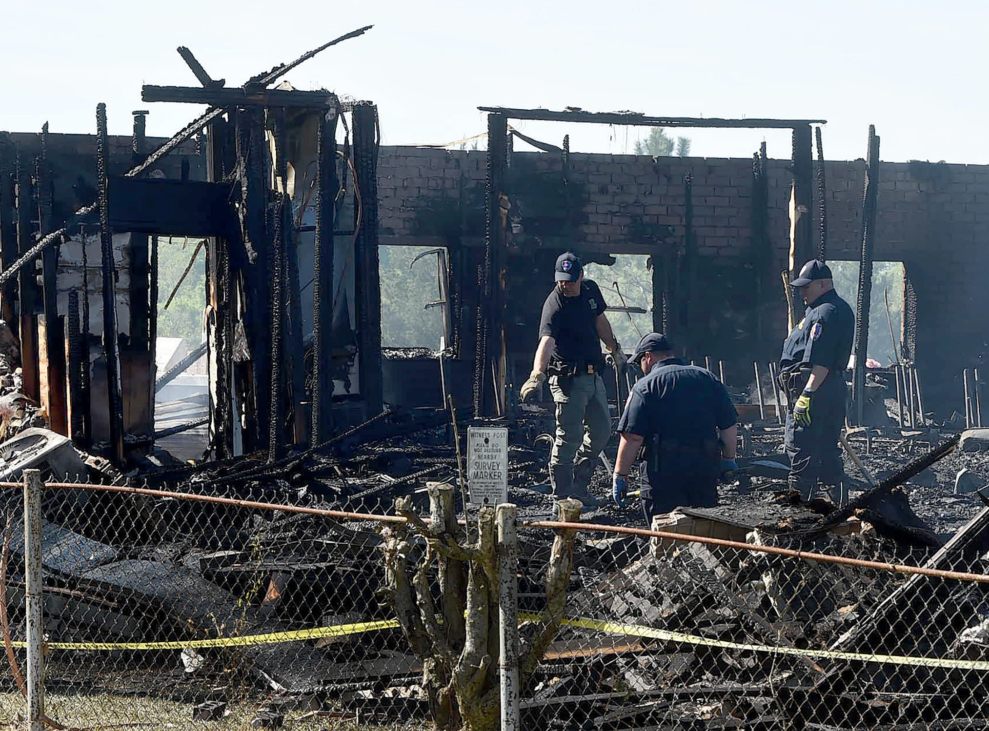 The scene Tuesday morning at the Greater Union Baptist Church after a fire at the St. Landry Parish church.