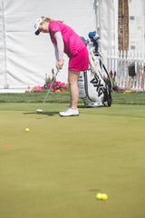 Two-time champion Brittany Lincicome practices at the 2019 ANA Inspiration tournament on Tuesday, April 2, 2019, at Mission Hills Country Club in Rancho Mirage.