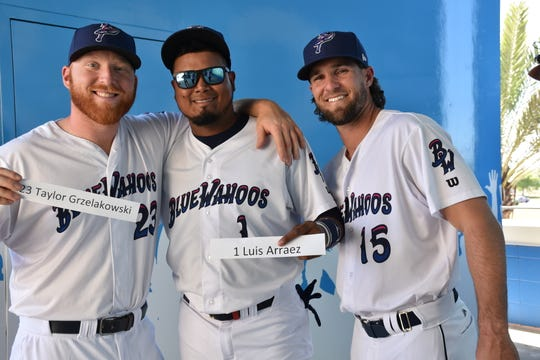 Blue Wahoos players have fun with their name tags during media day.