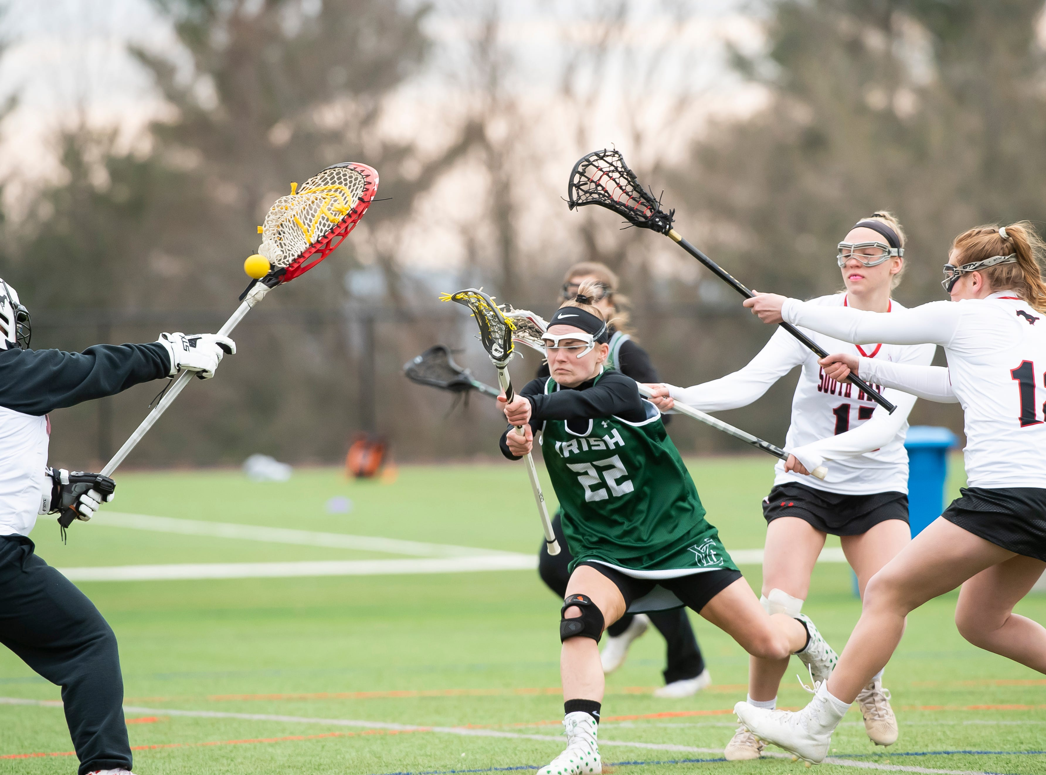 York Catholic's Natalie Neiman (22) scores on a shot during a YAIAA lacrosse game against South Western in Hanover on Tuesday, April 2, 2019. Neiman finished with three goals and two assists as York Catholic won 19-7 and improved to 5-0.