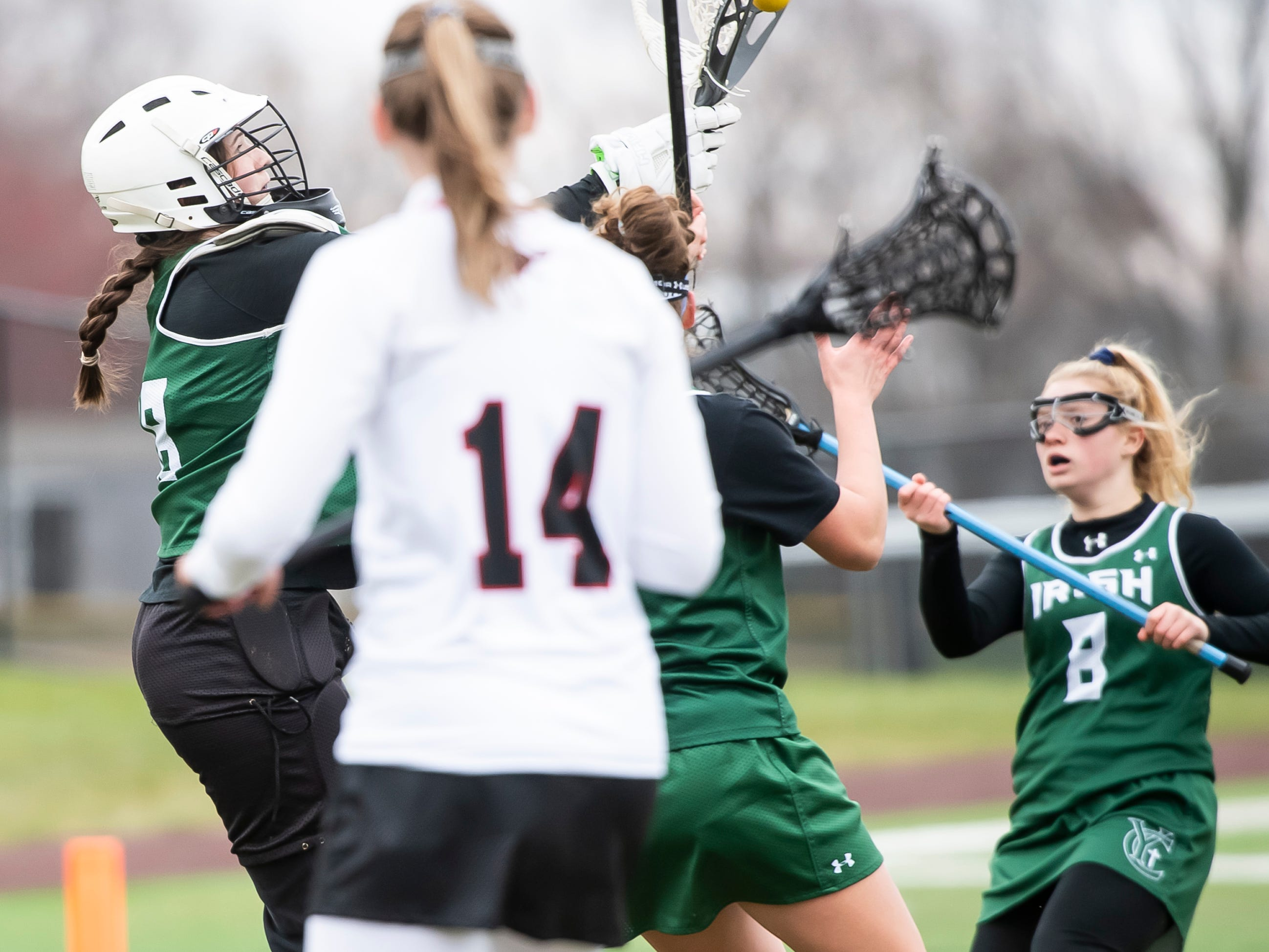 York Catholic goalie Morgan Kilduff makes a save during a YAIAA lacrosse game against South Western on Tuesday, April 2, 2019. Kilduff finished the game with six saves as York Catholic won 19-7 and improved to 5-0.