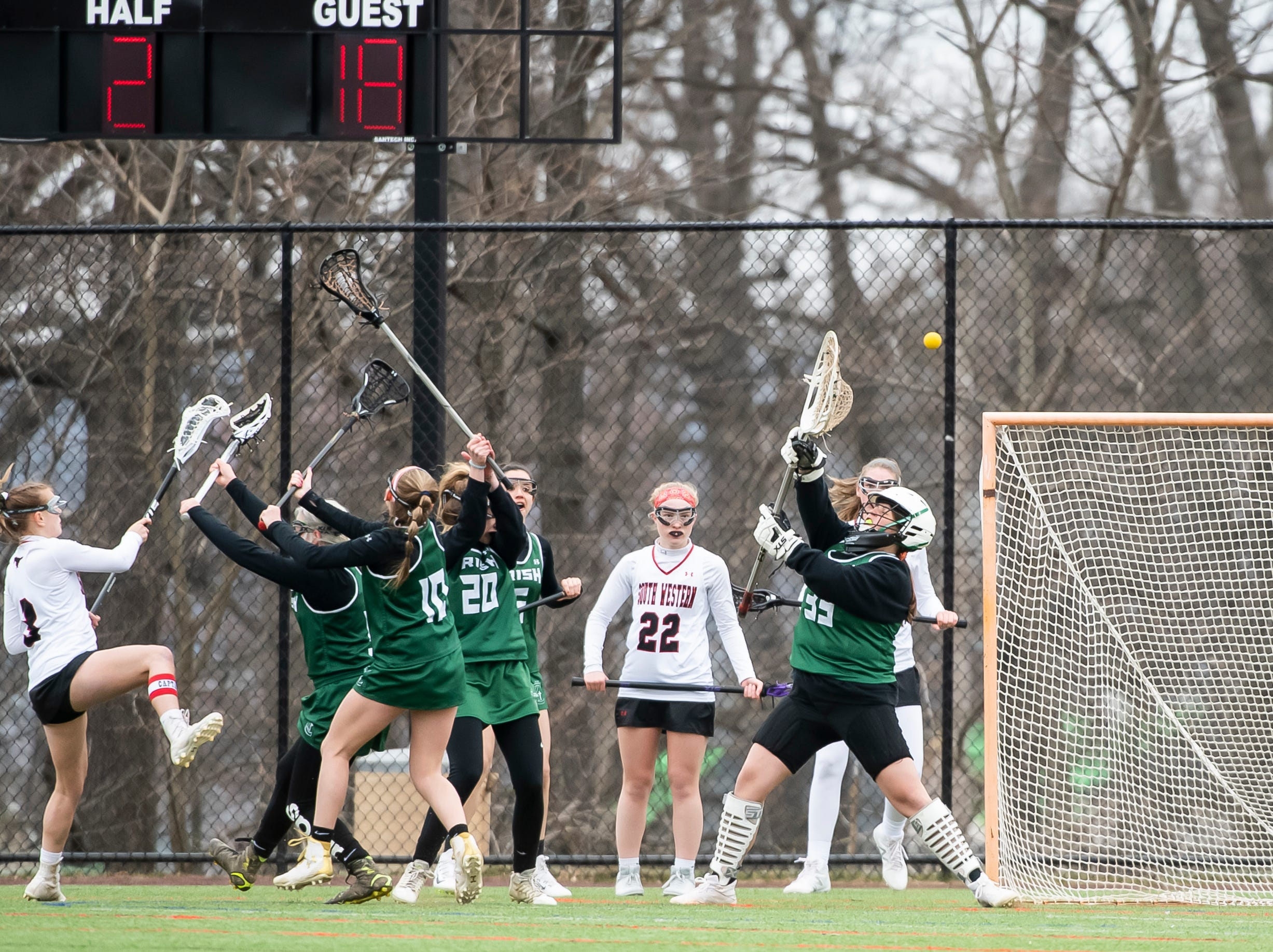 A shot from South Western's Sophie Mace just misses during a YAIAA lacrosse game against York Catholic in Hanover on Tuesday, April 2, 2019. South Western fell 19-7.