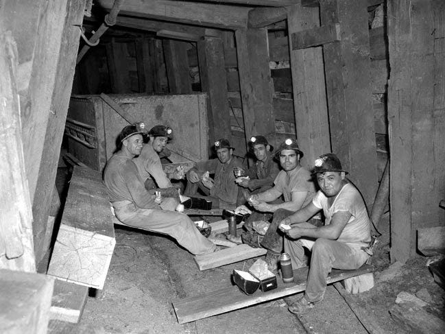 Miners in the Inspiration Consolidated Copper Company mine in the Miami/ Claypool area in 1948. Joe Campos would have worked in this same mine around the same time before re-enlisting in the military. It is believed he stopped working at the mine because of the racism he experienced.